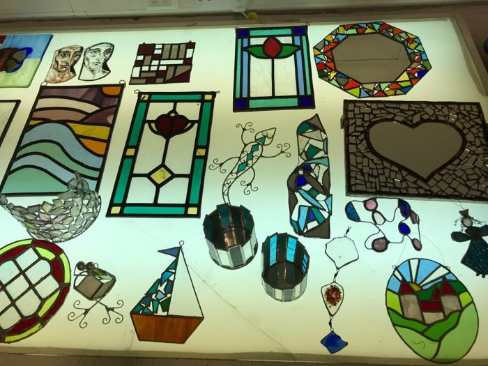 Photo of stained glass items that have been made