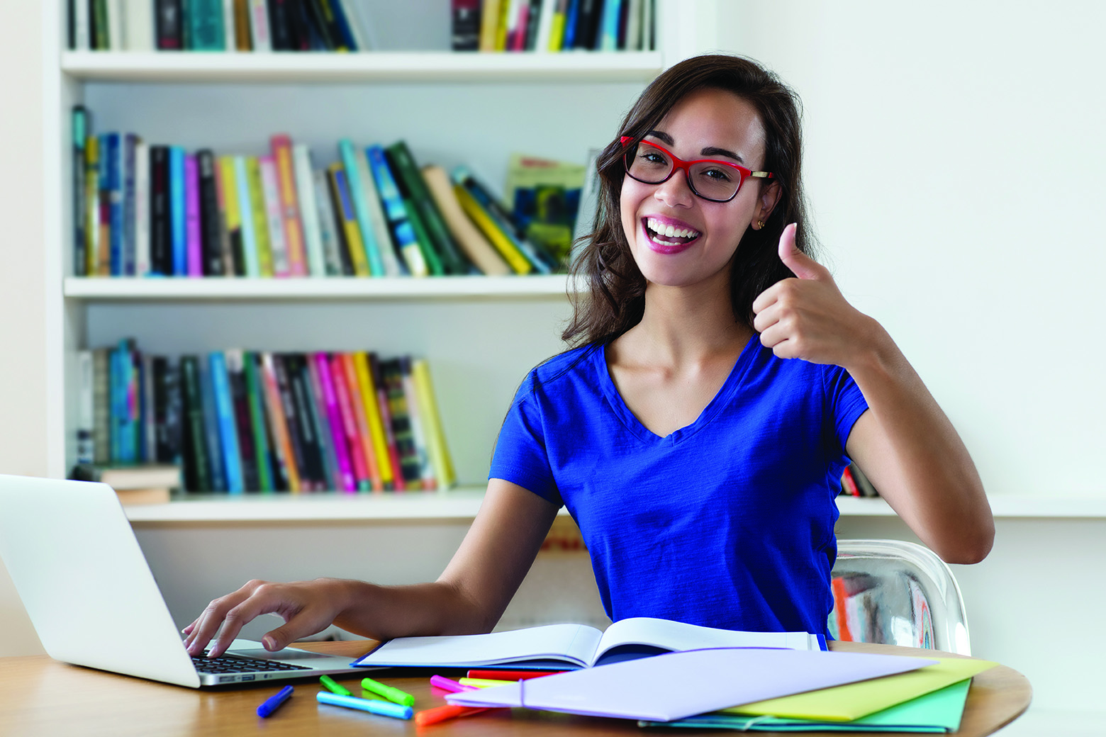 Successful French Female Student Learning On Computer